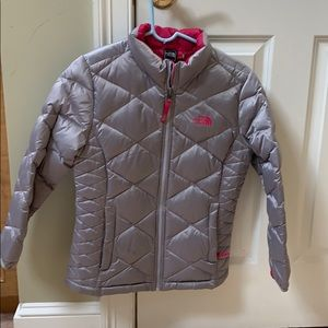 NorthFace gently used girls quilted coat 14/16